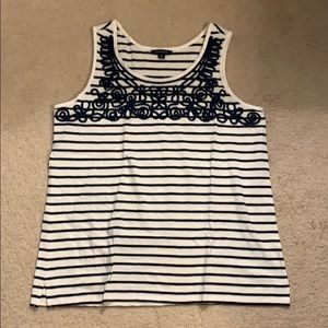 Lands End Navy and White Striped Tank